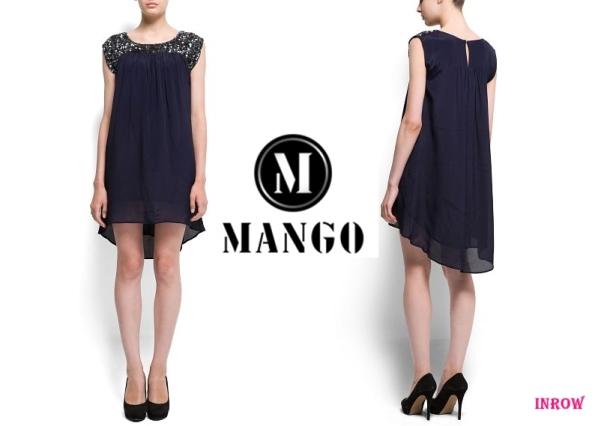 Mango-vestido lentejuelas azul