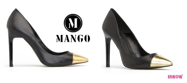 Zapato punta dorada MANGO