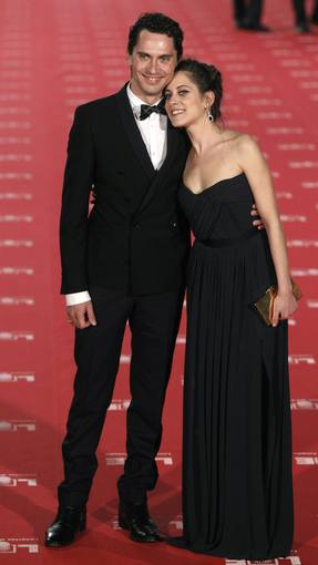 Spanish actors Paco Leon and his sister Maria Leon, nominated for Best upcoming Actress, pose for photographers on the red carpet as they arrive for the Spanish Film Academy's Goya awards ceremony in Madrid