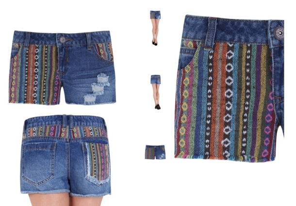 ETHNIC PRINT JACQUARD DENIM SHORTS