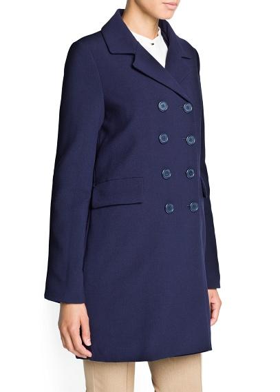 azul abrigo doble boton mango